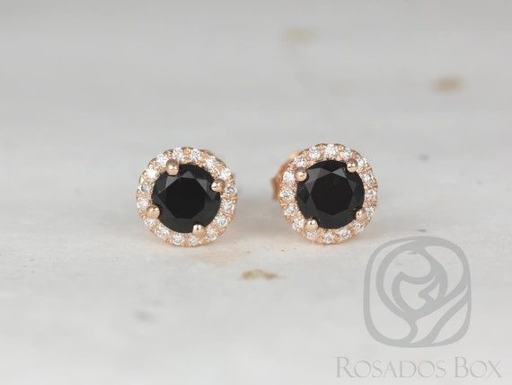 Rosados Box Ready to Ship Gemma 5mm 14kt Rose Gold Round Black Onyx and Diamonds Halo Stud Earrings