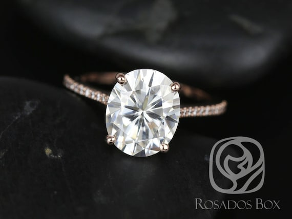 SALE Rosados Box Ready to Ship Blake 11x9mm 14kt YELLOW Gold Oval FB Moissanite Diamonds Thin Cathedral Solitaire Engagement Ring