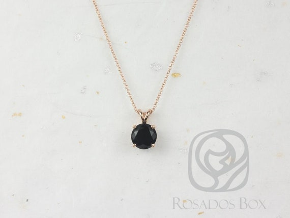 Rosados Box Donna 8mm 14kt Rose Gold Round Black Onyx Leaf Gallery Basket Solitaire Necklace