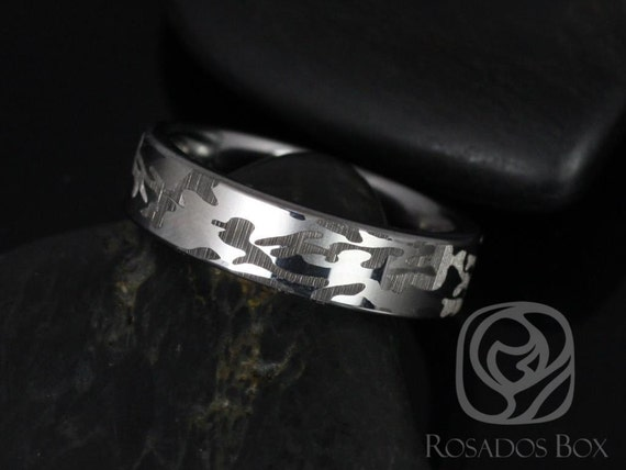 Rosados Box Knox 6mm Tungsten Straight Pipe Laser Etched Army Camouflage Duo Band