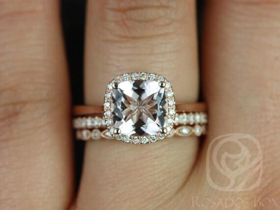 Roxie 8mm & Ultra Petite Gwen 14kt Rose Gold Morganite Diamond Dainty Art Deco Cushion Halo TRIO Wedding Set Rings,Rosados Box