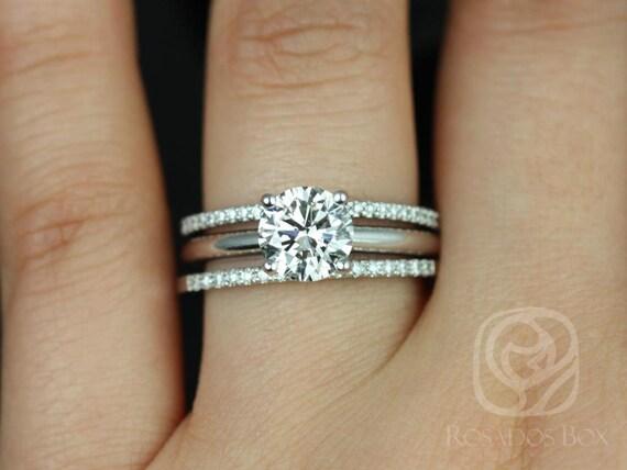 1.50ct Alberta 7.5mm & Barra Dia 14kt White Gold Forever One Moissanite Diamond Classic Round Solitaire TRIO Wedding Set Rings,Rosados Box