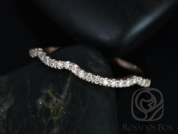 Rosados Box 14kt Rose Gold Matching Band to Gabi 7mm/Josephine 7mm Diamond HALFWAY Eternity Band
