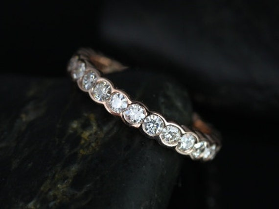 Rosados Box DIAMOND FREE Cordelia 14kt Rose Gold Curvy Moissanite W/O Milgrain FULL Eternity Band