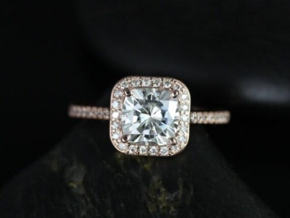 Rosados Box Camila 7mm 14kt Rose Gold Thin Forever One Moissanite Diamonds Cushion Halo Engagement Ring