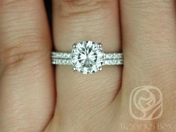 Rosados Box Sofia 8mm 14kt White Gold Round Forever One Moissanite Diamond Basket Classic Wedding Set Rings