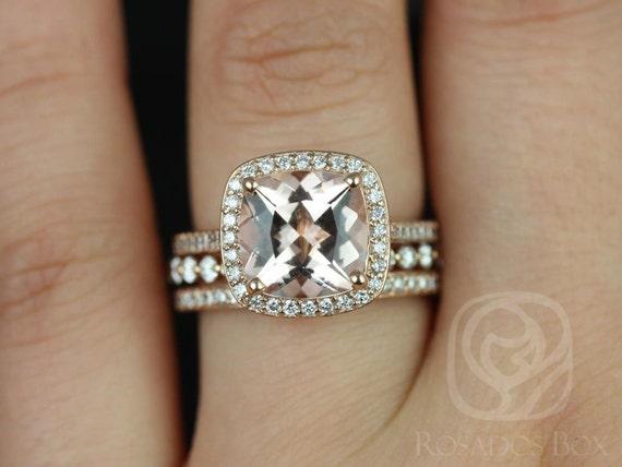 Rosados Box Hollie 9mm & Petite Naomi 14kt Rose Gold Cushion Morganite Diamond Halo TRIO Wedding Set Rings