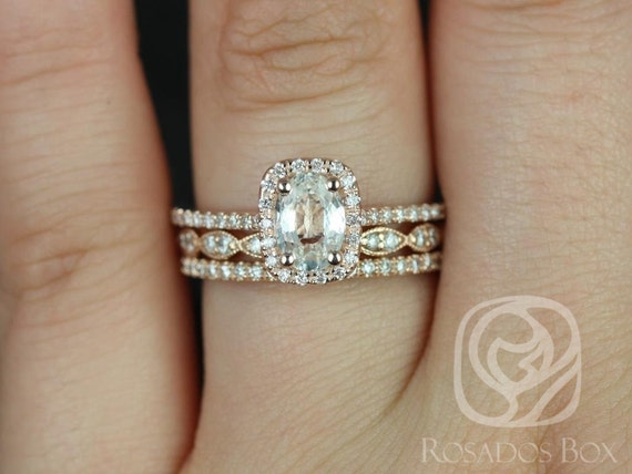 Rosados Box Romani 7x5mm & Christie 14kt Rose Gold Oval White Sapphire and Diamond Halo TRIO Wedding Set Rings
