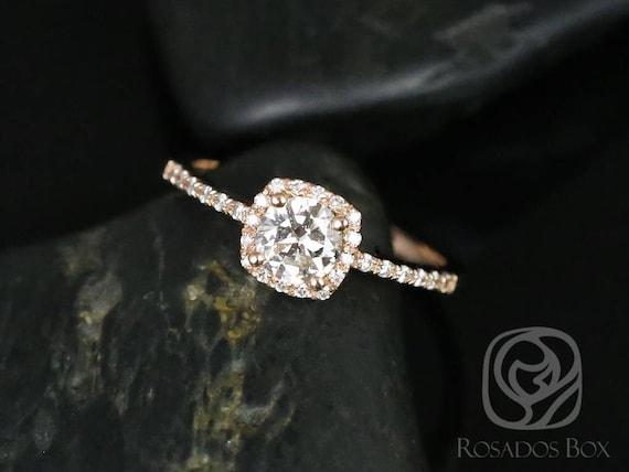 Rosados Box Barra 1/2ct 14kt Rose Gold Round Diamond Cushion Halo Engagement Ring