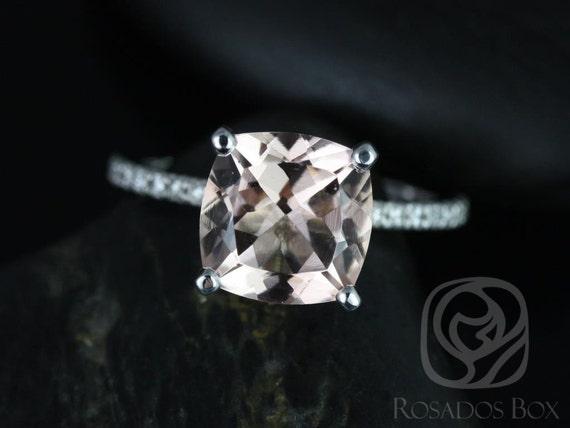 9mm Cushion Morganite Diamond Dainty Hidden Pave Basket Engagement Ring,14kt White Gold,Heidi 9mm,Rosados Box