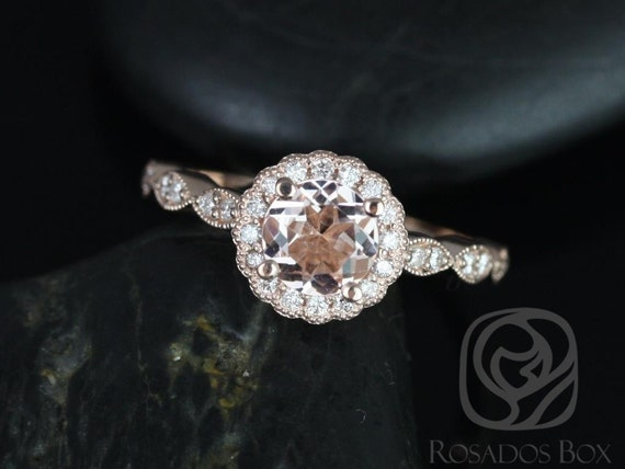 Rosados Box Sunny 6mm 14kt Rose Gold Round Morganite and Diamonds Flower Halo WITH Milgrain Engagement Ring