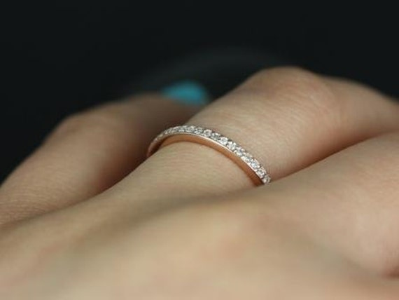 Rosados Box 14kt Rose Gold Matching Band to Diana Diamond HALFWAY Eternity Band