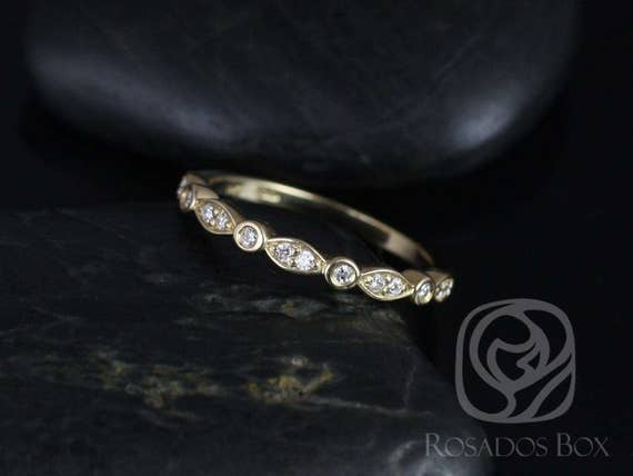 14kt Matching Band to Quinn Diamonds WITHOUT Milgrain Pave Art Deco HALFWAY Eternity Band Ring,Rosados Box