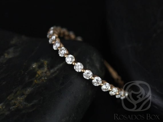 Rosados Box Ready to Ship Petite Naomi/Petite Bubble & Breathe 14kt WHITE Gold Diamond Single Prong Floating ALMOST Eternity Band