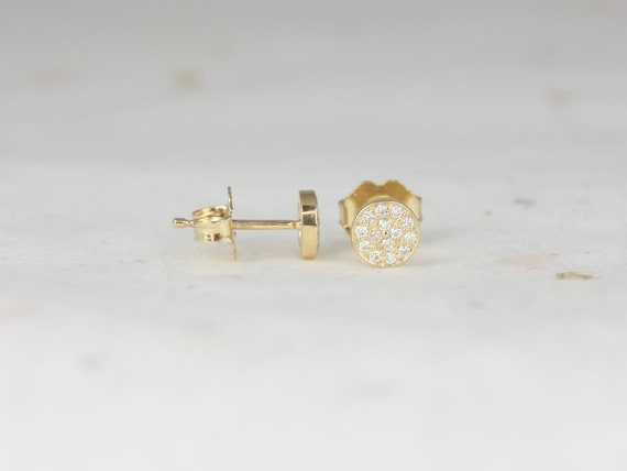 Ready to Ship Rosados Box Diskco 5mm 14kt Yellow Gold Diamond Pave Disk Dainty Stud Earrings
