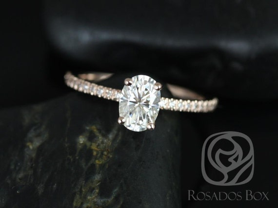 1ct Oval Forever One Moissanite Diamonds Thin Solitaire Accent Engagement Ring,14kt Solid Rose Gold,Darcy 7x5mm,Rosados Box