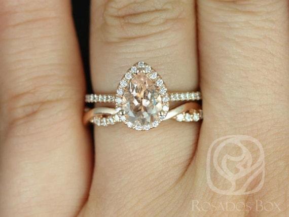 Tabitha 8x6mm & Dusty 14kt Rose Gold Morganite Diamonds Twisted Micro Pave Pear Halo Wedding Set Rings Rings,Rosados Box