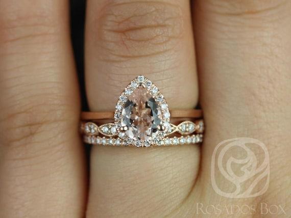 Rosados Box Julie 8x6mm, Christie, & Dia Barra 14kt Rose Gold Pear Morganite Diamond Halo TRIO Wedding Set Rings