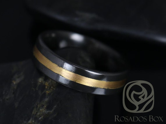 Rosados Box Marlo 6mm Black Zirconium & 14kt Rose Gold Single Stripe Pipe Band