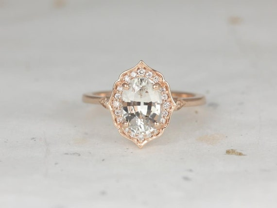 Rosados Box Ready to Ship Mae 2.31cts  14kt Rose Gold Oval Peach Champagne Sapphire and Diamond Halo WITHOUT Milgrain Engagement Ring