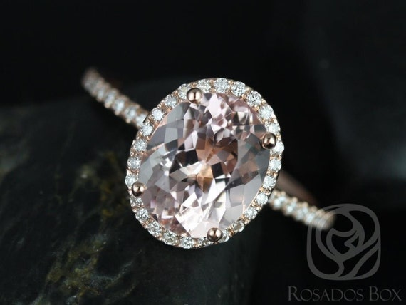 Rosados Box Jessica 10x8mm 14kt Rose Gold Oval Morganite and Diamonds Halo Engagement Ring