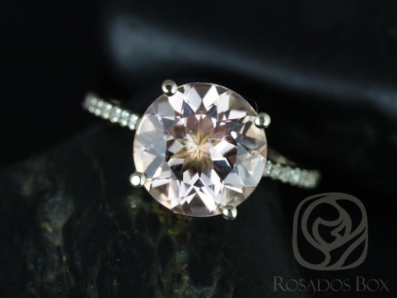 Eloise 10mm 14kt Gold Morganite Diamond Dainty Micropave Cathedral Round Solitaire Accent Engagement Ring,Rosados Box