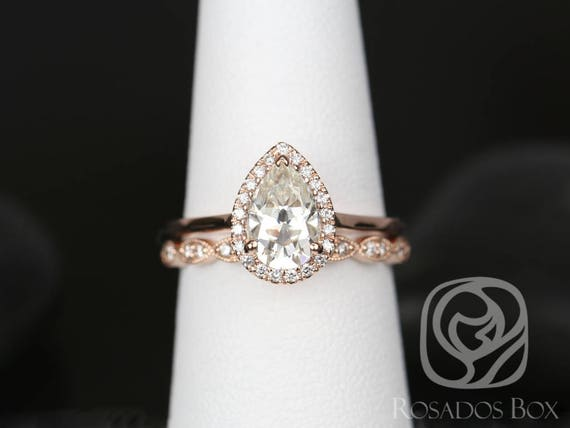 SALE Rosados Box Ready to Ship Julie 9x6mm & Christie WITH Milgrain 14kt Rose Gold Pear FB Moissanite Diamond Halo Wedding Set Rings