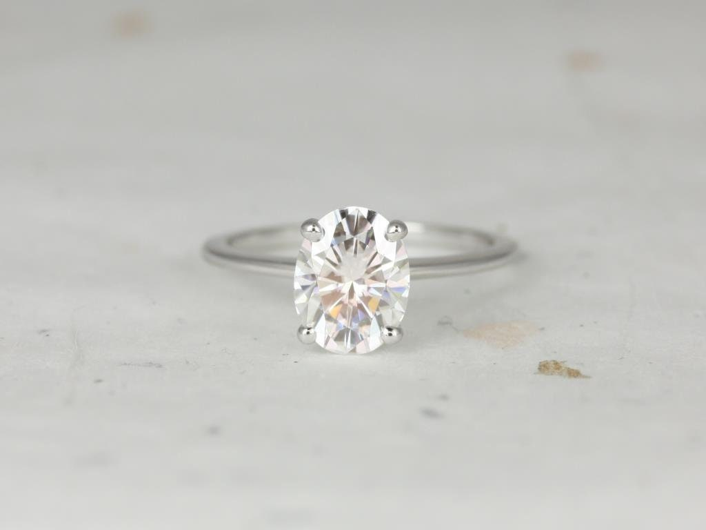 e0b90ae274776 2ct Oval Forever One Moissanite Thin 4 Prong Cathedral Solitaire ...