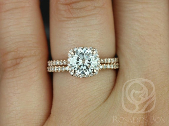 Rosados Box Samina 7mm & Kubian 14kt  Rose Gold Forever One Moissanite Diamond Cushion Halo Wedding Set Rings