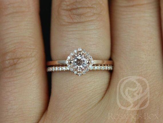 5mm Morganite Diamond Cushion Kite Micropave Halo Wedding Set Rings Rings,14kt Solid Rose Gold,Kyla 5mm  & Barra,Rosados Box