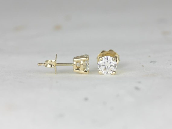 Rosados Box Ready to Ship 4mm Moissanite Classic Studs 14kt WHITE Gold 4-Prong Earrings (Basics Collection)