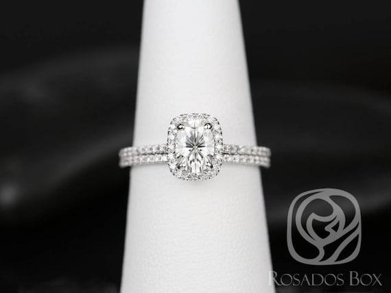 SALE Rosados Box Ready to Ship Romani 7x5mm 14kt White Gold FB Moissanite and Diamond Cushion Halo Wedding Set