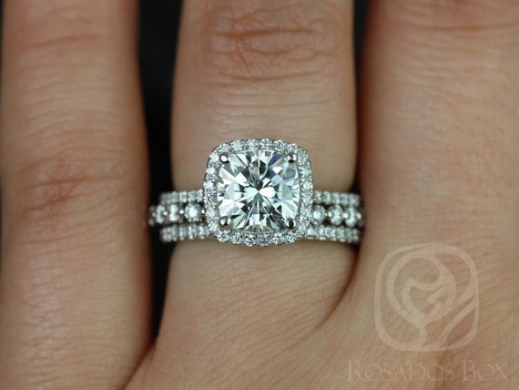 2ct Cushion Forever One Moissanite Diamonds Thin Micropave Halo TRIO Wedding Set Rings,Platinum,Catalina 7.5mm & Petite Naomi,Rosados Box