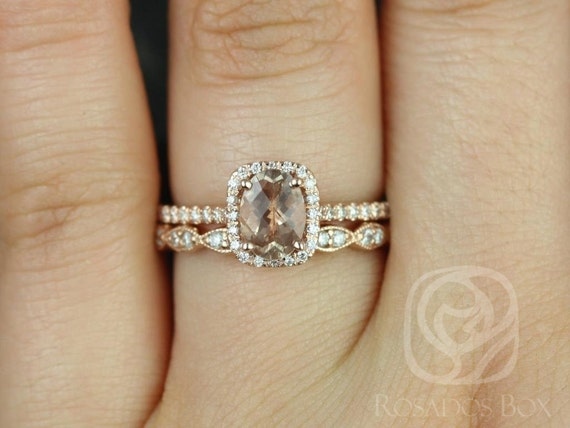7x5mm Oval Sunstone Diamond Vintage Cushion Halo Wedding Set Rings Rings,14kt Solid Rose Gold,Romani 7x5mm & Christie,Rosados Box