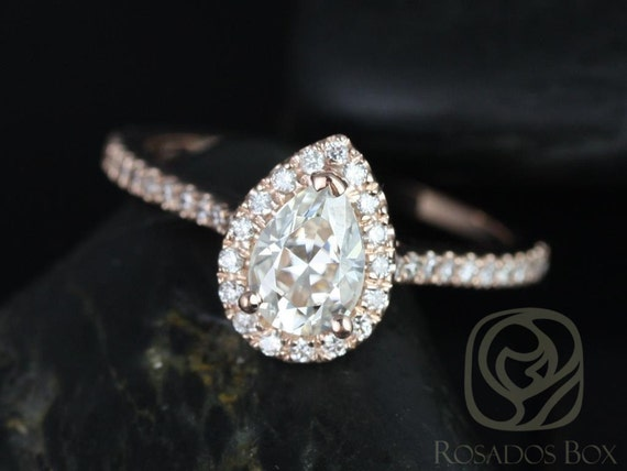 Rosados Box Tabitha 7x5mm 14kt Rose Gold Pear F1- Moissanite and Diamonds Halo Engagement Ring