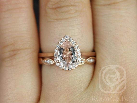 Rosados Box Julie 8x6mm & Ember 14kt Rose Gold Pear Morganite  and Diamonds Halo Wedding Set