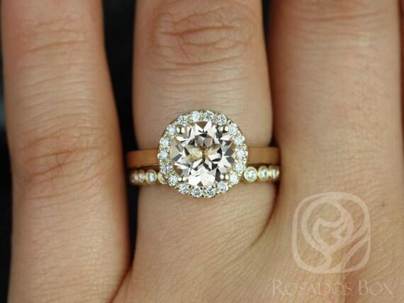 Rosados Box Feema 8mm  & Petite Bubbles 14kt Yellow Gold Round Morganite Diamond Halo Wedding Set Rings