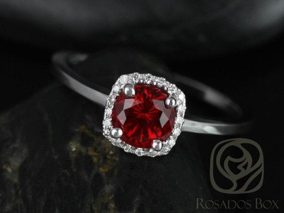 Ruby Diamonds Cushion Halo Plain Band Engagement Ring .  14kt Solid Gold . Bella 6mm . Rosados Box