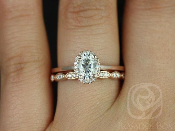 Rosados Box Celeste 7x5mm & Christie 14kt Rose Gold Oval F1- Moissanite and Diamonds Pave Halo Wedding Set