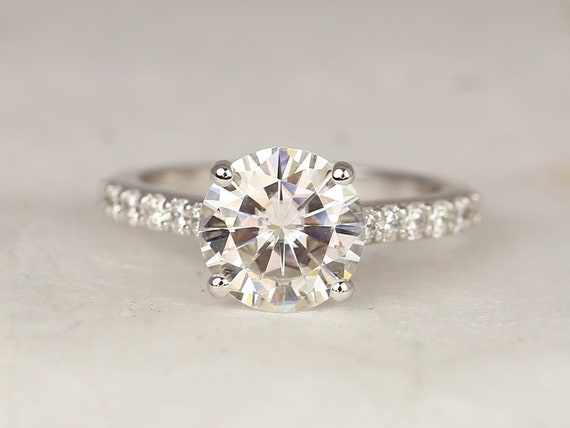 2.70ct Tracy 9mm 14kt White Gold Forever One Moissanite Diamonds Minimalist Pave Solitaire Round Engagement Ring,Rosados Box