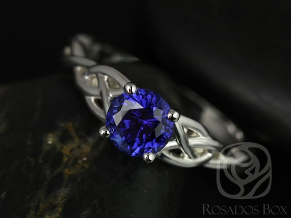 6mm Round Blue Sapphire Celtic Love Knot Triquetra Engagement Ring,14kt Solid White Gold,Cassidy 6mm,Rosados Box