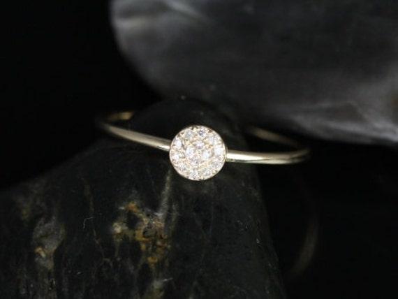 Diskco 14kt Yellow Gold Petite Round Disk Diamonds Pave Dainty Ring,Rosados Box