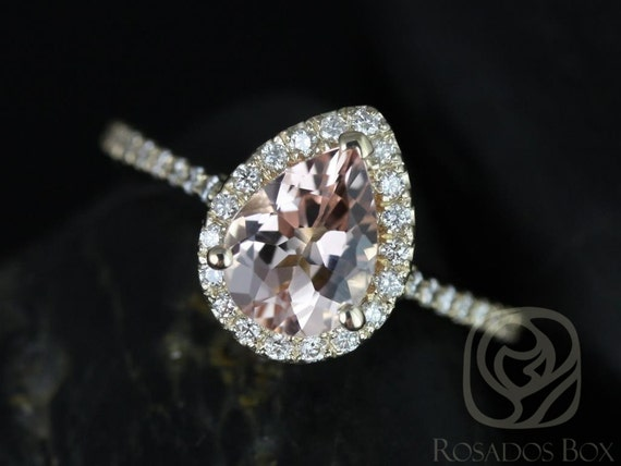 Tabitha 8x6mm 14kt Gold Morganite Diamonds Thin Vintage Pave Pear Halo Engagement Ring,Rosados Box