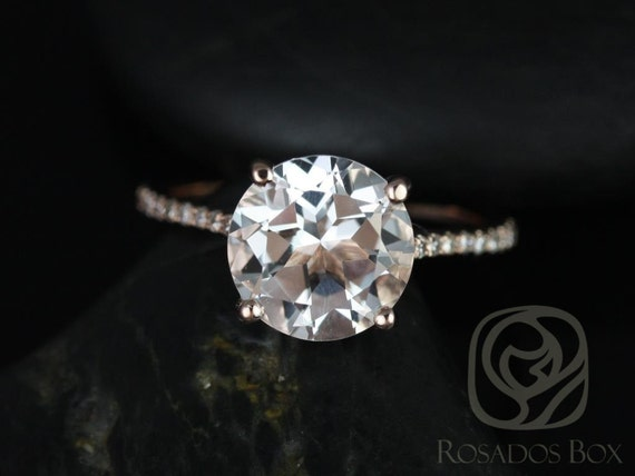 DIAMOND FREE Eloise 9mm 14kt Rose Gold White Topaz White Sapphire Dainty Cathedral Round Solitaire Accent Engagement Ring,Rosados Box