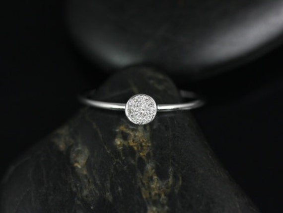 Diskco 14kt White Gold Petite Round Disk Diamonds Pave Dainty Ring,Rosados Box