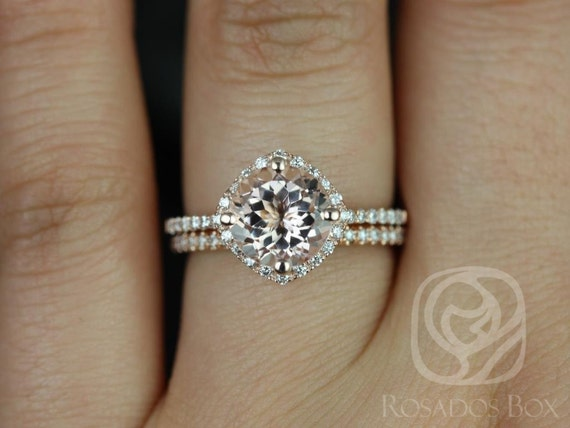 Kitana 8mm 14kt Rose Gold Round Morganite Diamonds Dainty Thin Pave Kite Cushion Halo Wedding Set Rings,Rosados Box