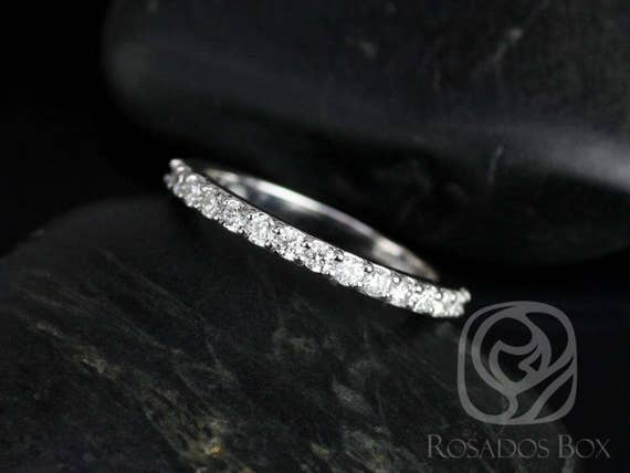 Rosados Box 14kt White Gold Matching Band to Katherine Thin Shared Prong Diamonds HALFWAY Eternity Band