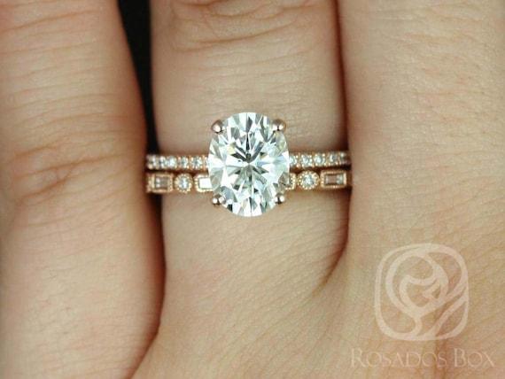 Rosados Box Hillary 9x7mm & Ivanna 14kt Rose Gold Oval F1- Moissanite and Diamond Basket Wedding Set