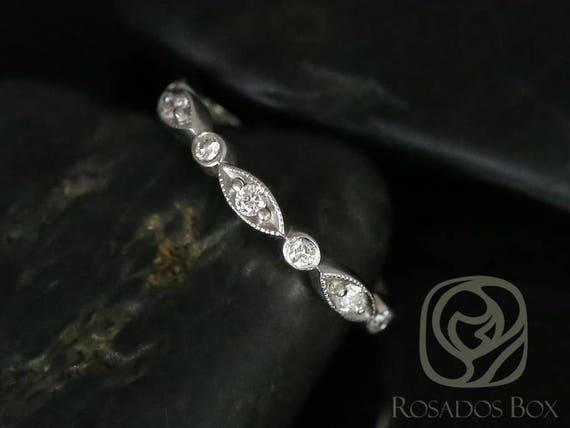 Rosados Box Ready to Ship Original Bead & Eye 14kt White Gold Vintage Style Diamond HALFWAY Eternity Band