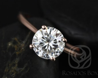 Rosados Box Skinny Flora 8mm 14kt Rose Gold Round F1- Moissanite Tulip Cathedral Solitaire Engagement Ring